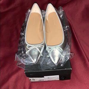 Silver pointy toe ballerina flats.